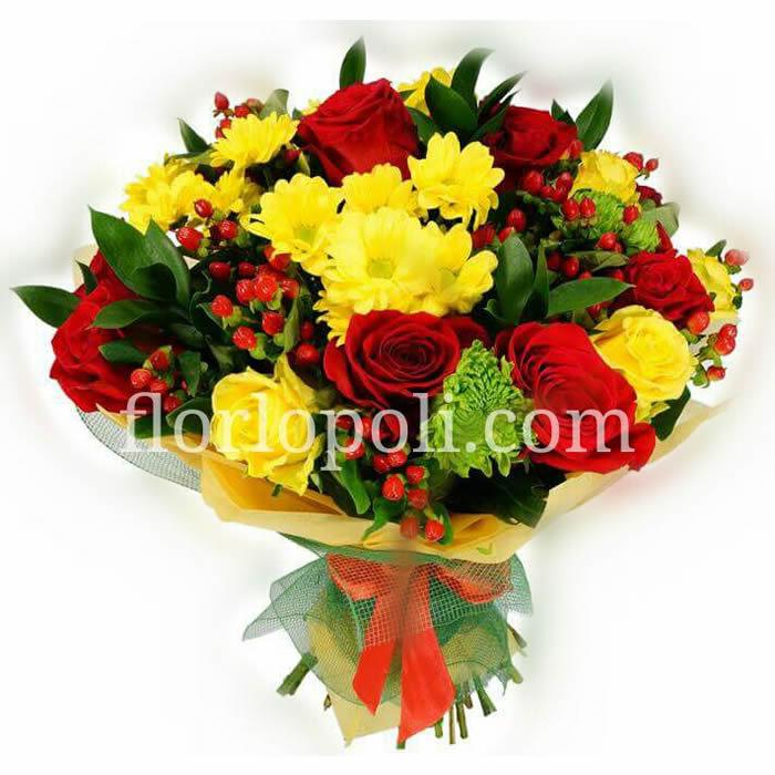 Ramo de margaritas, rosas y flor de cafe