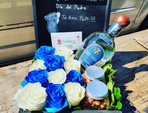 Caja de rosas, botana y botella 7 Leguas.