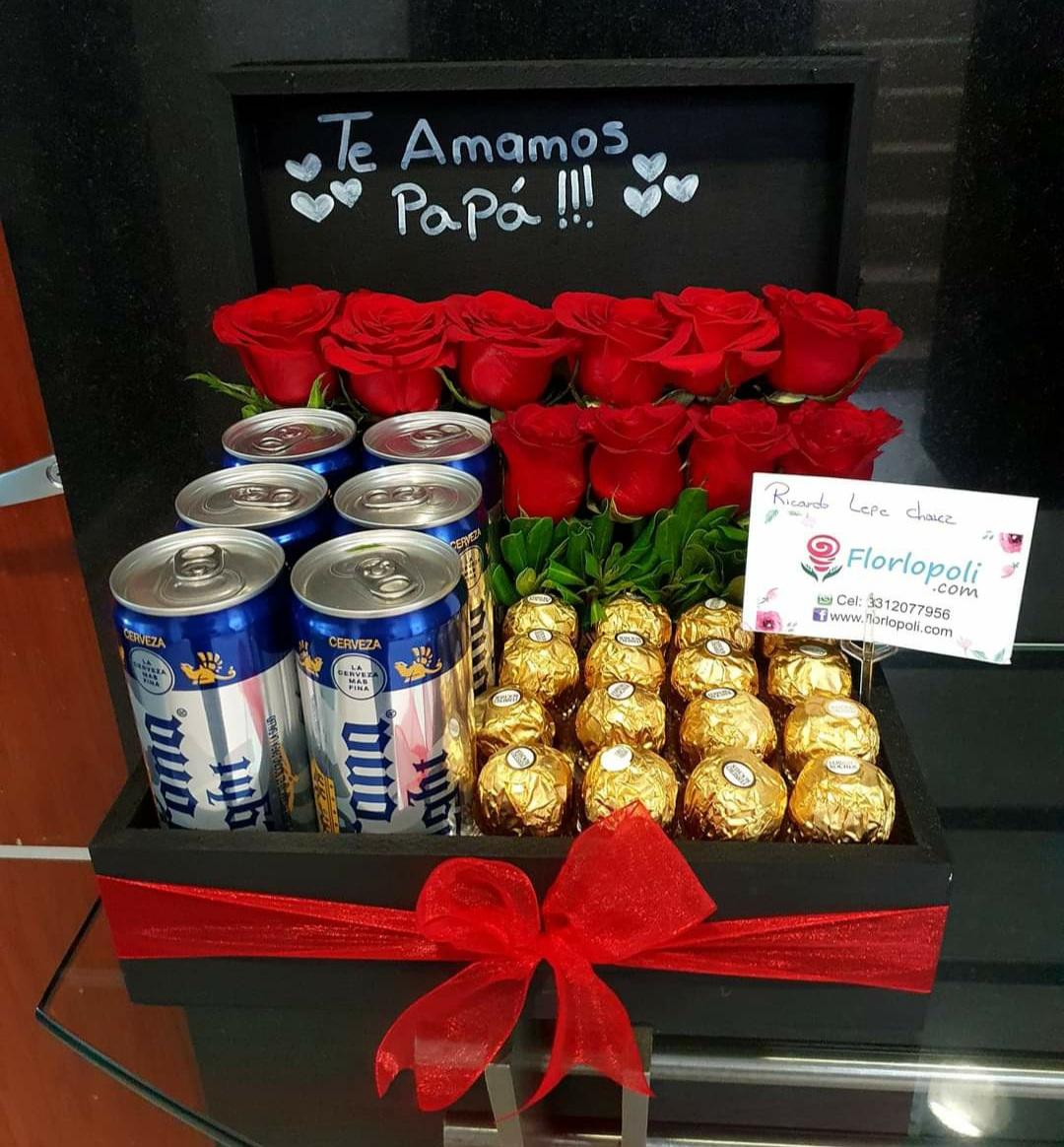 Diseño de rosas, cerveza y chocolates