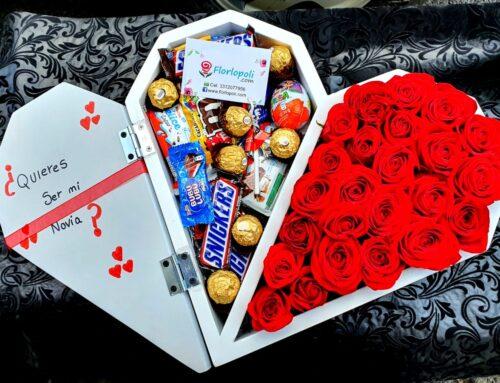 Corazon de rosas y surtido de chocolates