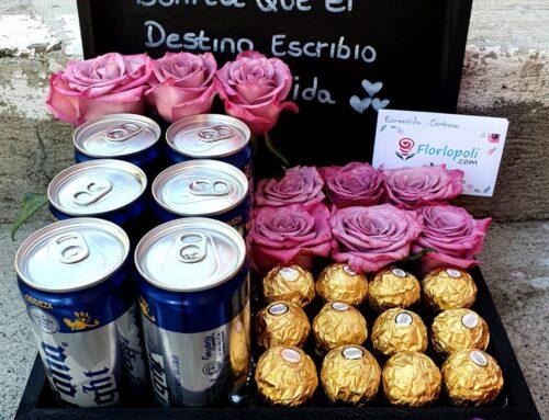 Diseño de rosas lilas, cerveza y chocolates