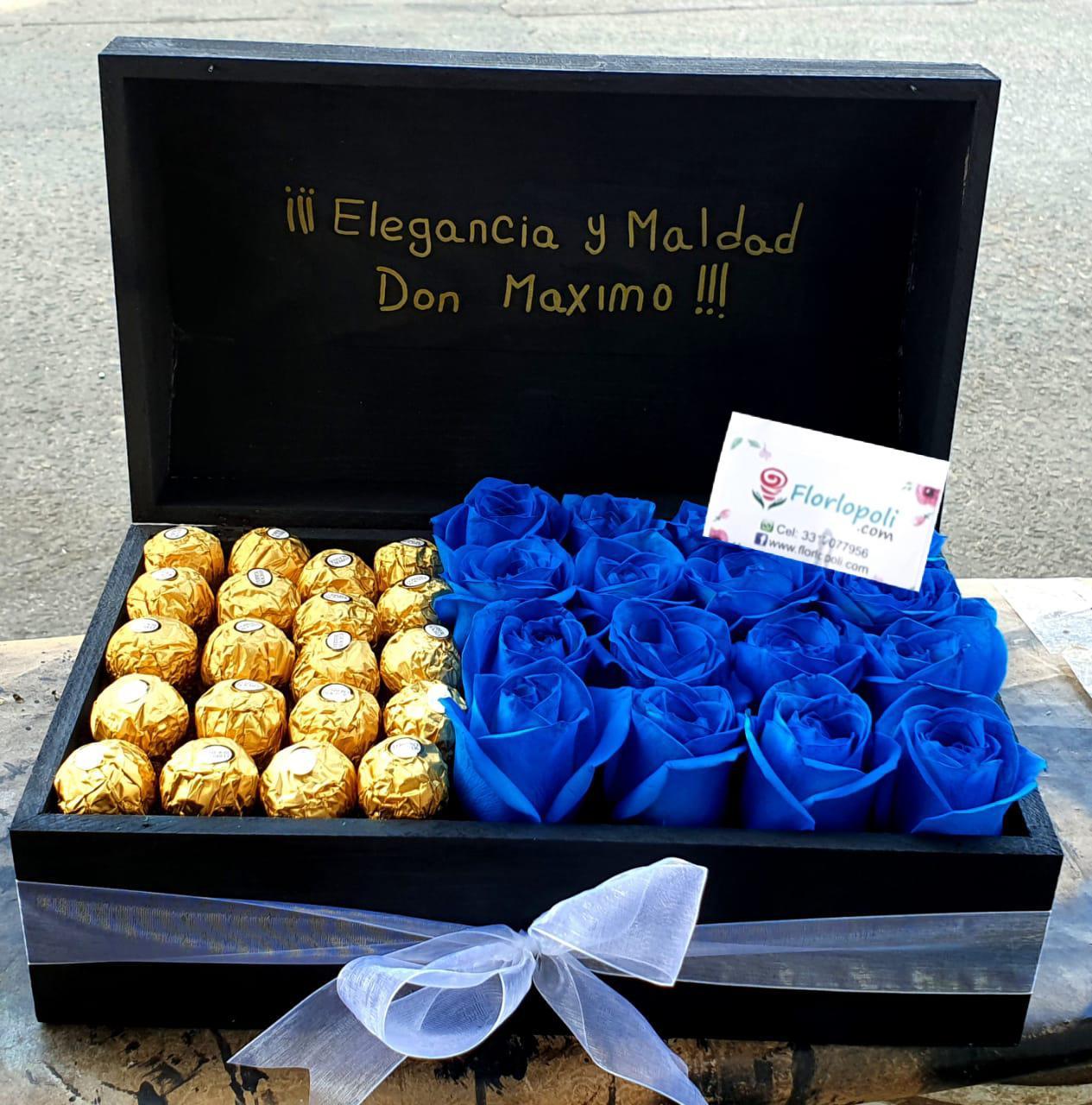 Cofre de Rosas Azules con Chocolates