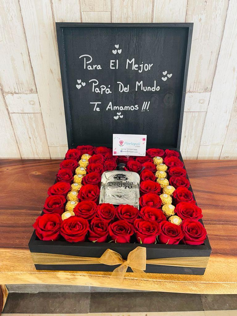 Caja de Rosas y Chocolates con Tequila