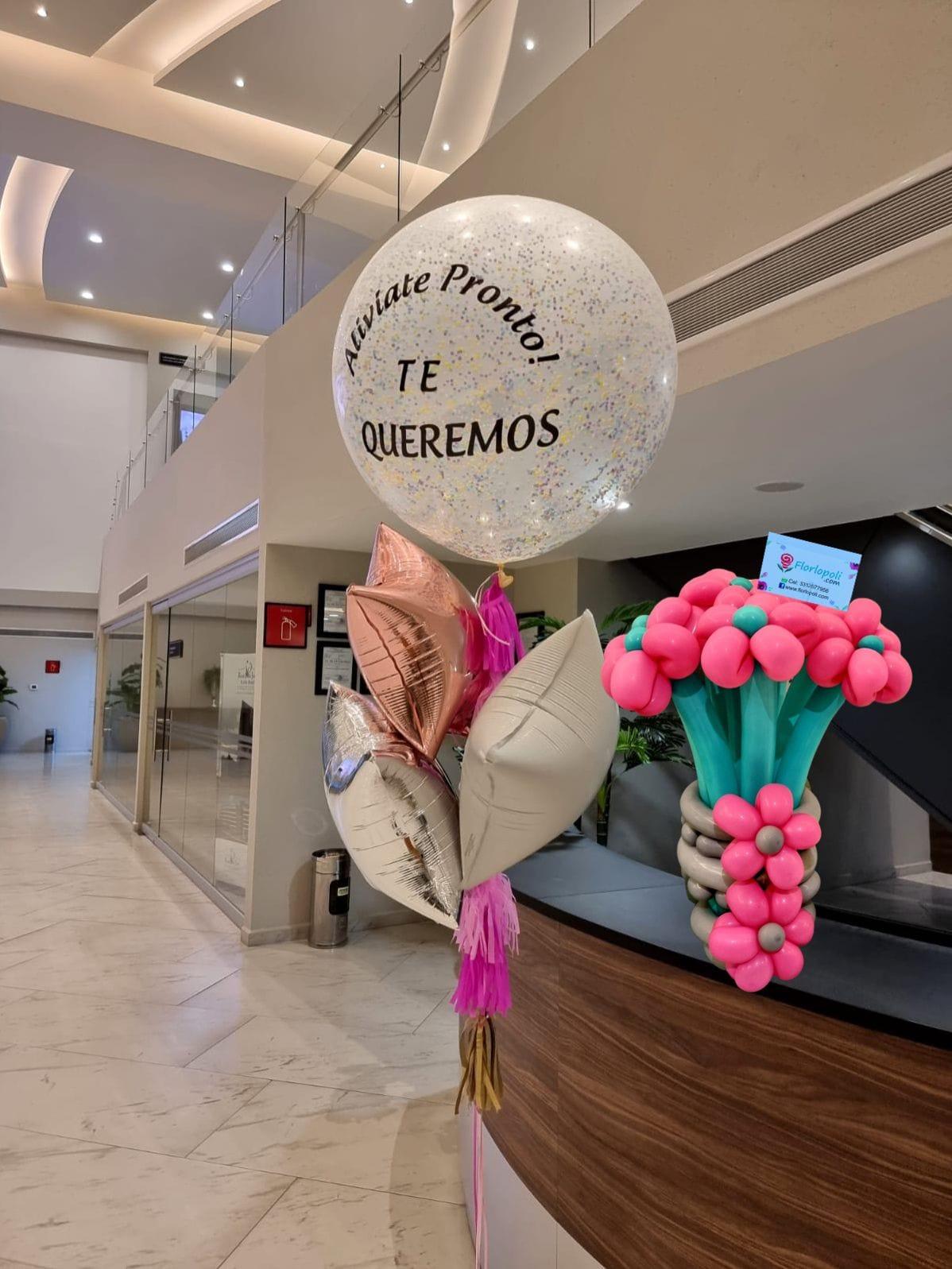 arreglo de flores de globos y globo Jumbo