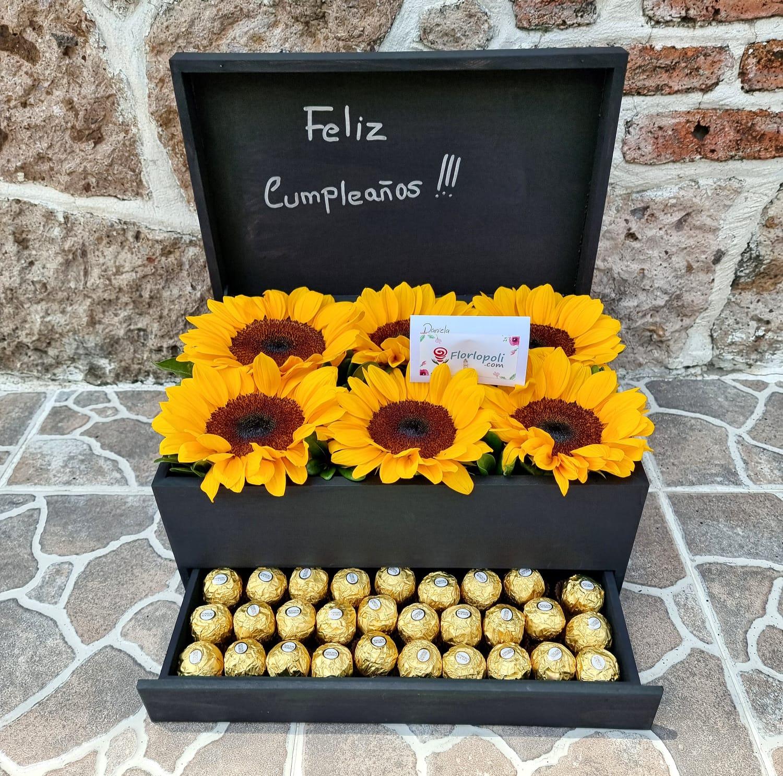 Caja de girasoles y chocolates