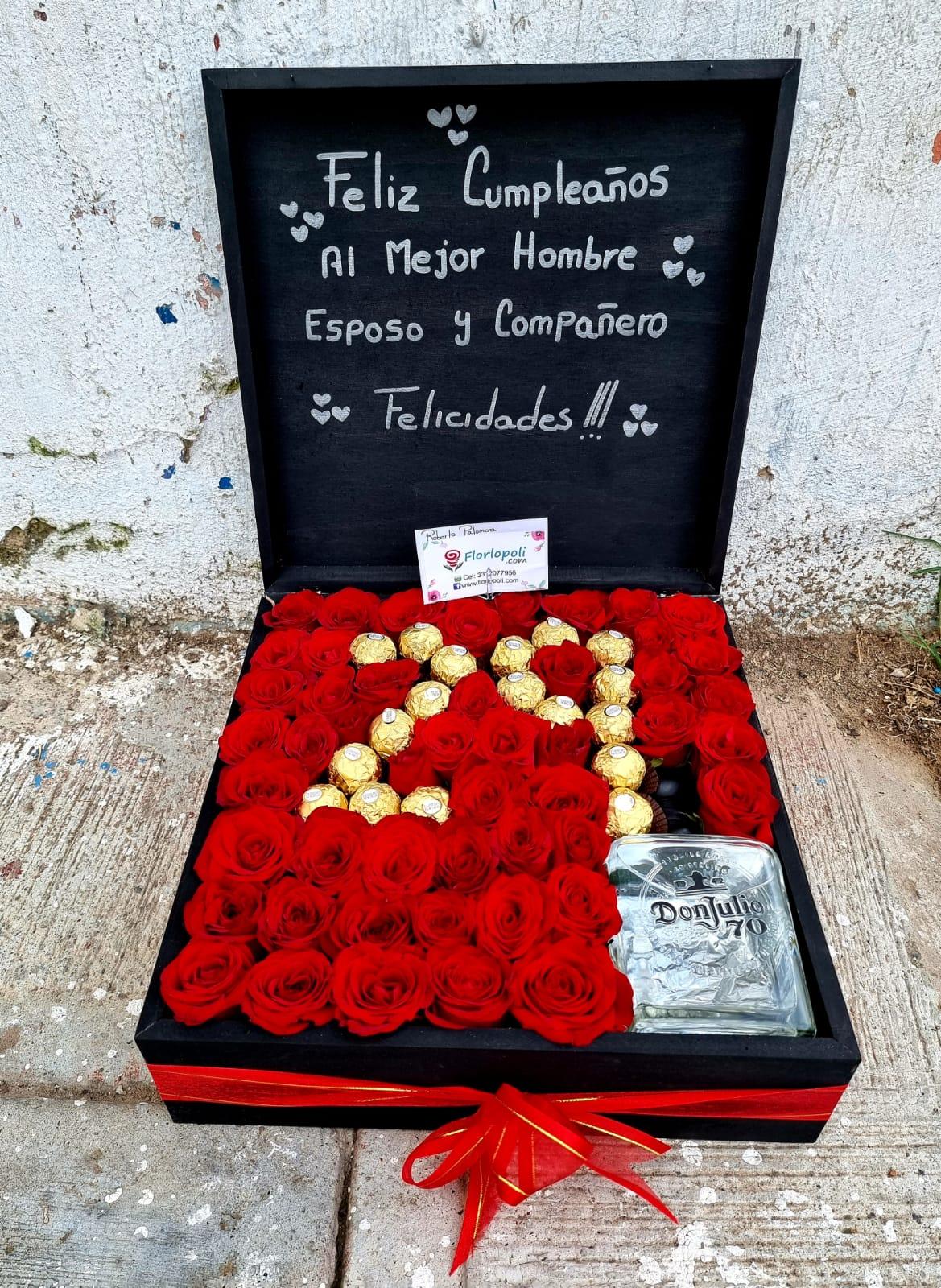 caja de rosas con numero de chocolates y tequila