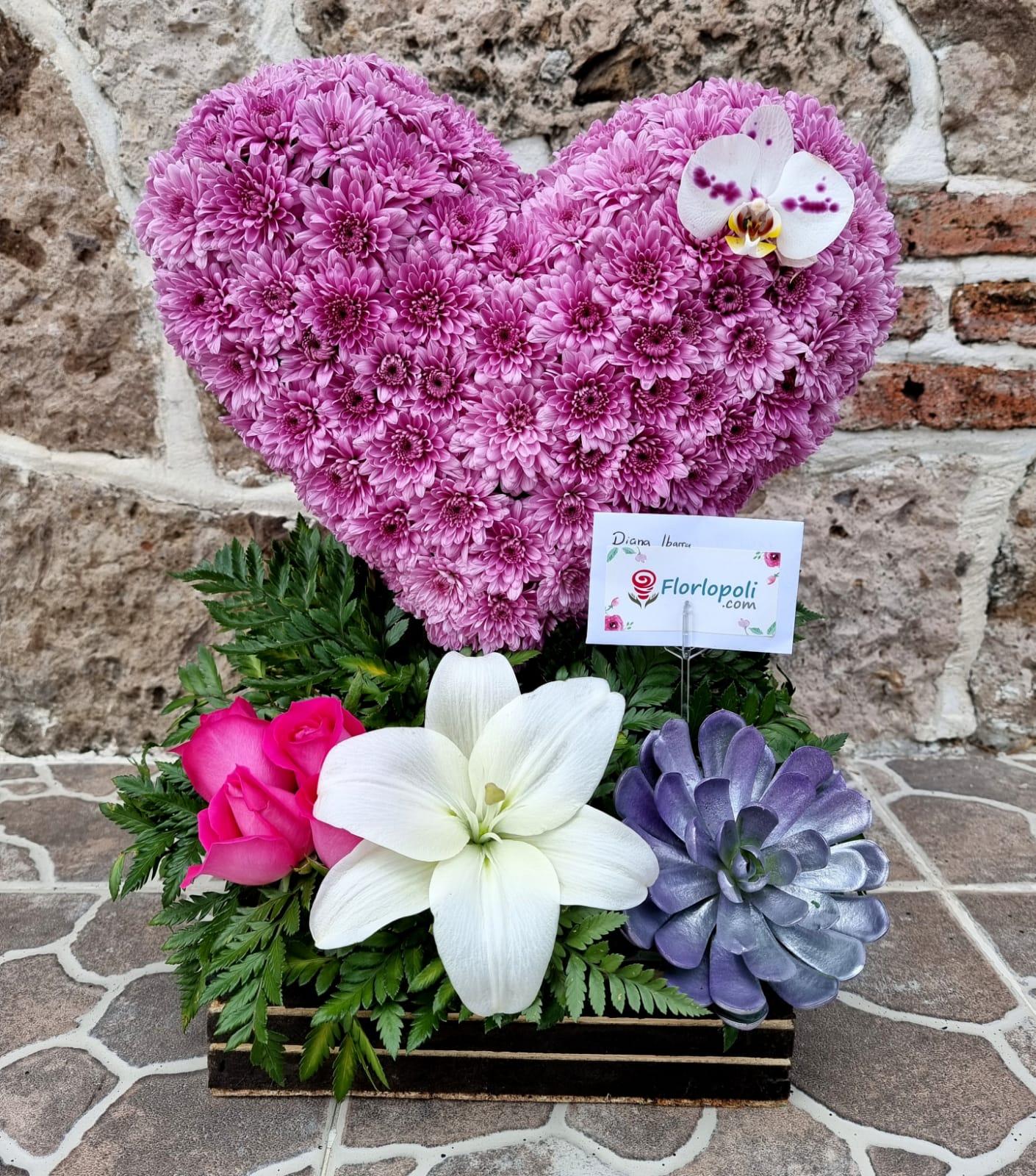 Escultura de Flores Rosas y Orquidea